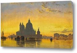 Картина Венеция, закат позади церкви Санта-Мария-делла-Салюте