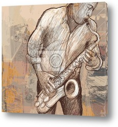 saxophonist on a colorful background