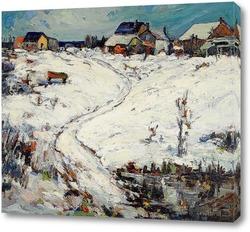 Картина Дома в зимнем пейзаже