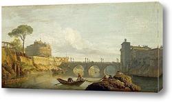 Картина Мост и замок Святого Ангела в Риме