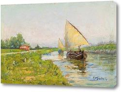 Картина Баржи вдоль канала