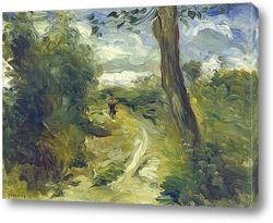 Женщина с зонтиком в саду летом