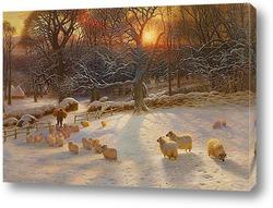 Постер Зимний день на закате