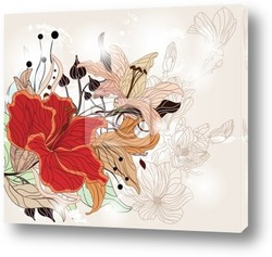 Постер Floral background with big hibiscus flower