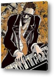 Картина  Афро-американский джазовый пианист