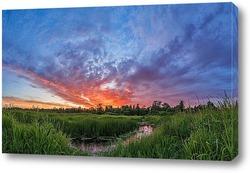 Постер Закат солнца на берегу реки