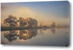 Постер туман на реке