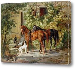 Постер Лошади у крыльца