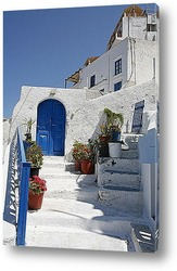 Красивый белый-синий Санторини