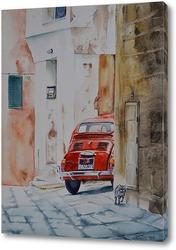 Картина Фиат на маленькой улочке
