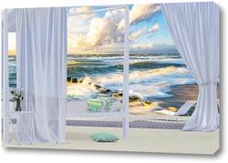Постер Морской пейзаж за окном