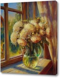 Картина Хризантемы на окне