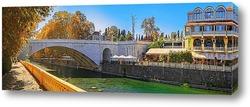 Постер Ривьерский мост через реку Сочи. Осенняя панорама