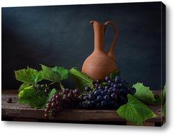 Постер Натюрморт с кувшином и виноградом