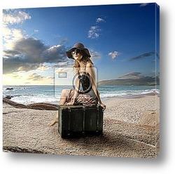bicker on beach  with sky
