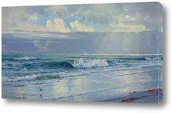 Постер Волны вдоль берега моря (штат Род-Айленд)