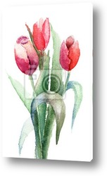 Decorative background with Tulips flowers