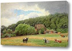 Постер Ферма с пасущимися коровами