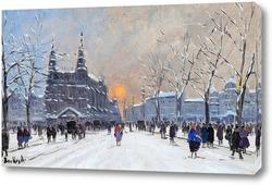 Картина Улицы большого города в зимний период