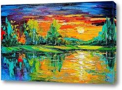 Картина Закат в лесу