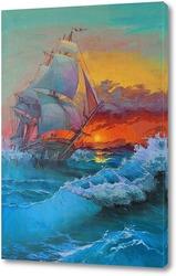 """Постер Картина """"Парусник на море"""""""