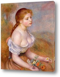 Постер Молодая девушка с ромашками