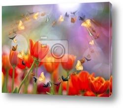 Постер Colorful tulips