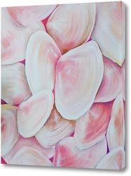 Перламутровые, розовые, морские ракушки
