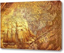 Старая карта и корабль