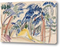 Постер Дюны песка под деревьями