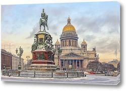 Постер Санкт-Петербург. Снегопад на Исаакиевской площади.