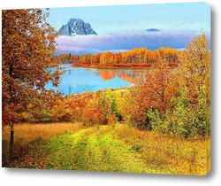 Картина осеннее озеро