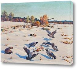 Картина Вороны в снегу