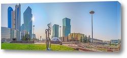 Постер Утренняя панорама  центра города Астана