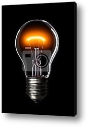 Постер Light bulb on black background.