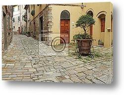 Постер Узкие улицы и внутренний дворик в тосканской деревне