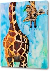 Постер Забавный жираф