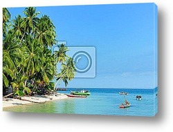 Tropical beach with copy space for text