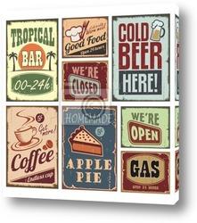 Старинные плакаты кофе и металлические знаки