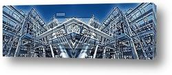 Постер Очистительный завод нефти и газа, синее освещение, панорама