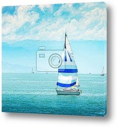Постер Прекрасная яхта в море