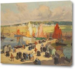 Картина Конкарно, оживленный порт