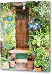 Дверь, окруженная цветами