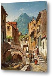 Постер Сцена итальянской деревни