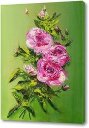 Картина Розы на зеленом фоне