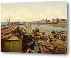 Постер Загрузка трески, Архангельск, Кольский полуостров, Россия. 1890-1900 гг