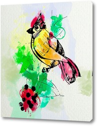 Акварельная птичка