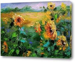 Картина Подсолнухи на поле