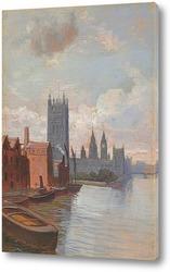 Постер Вестминстерский дворец с моста Ламбет