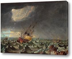 Постер Корабли в шторм